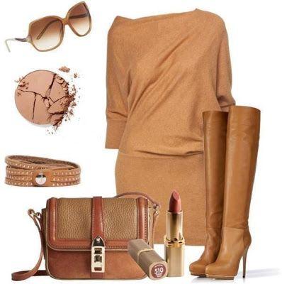 Outfit de otoño para la noche con botas de cuero, especial para salir a reuniones o fiestas.