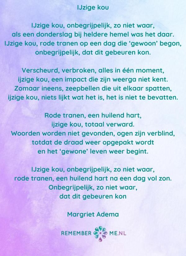 Betere Gedichten van Margriet Adema   Gedichten, Begrafenis gedichten BA-79