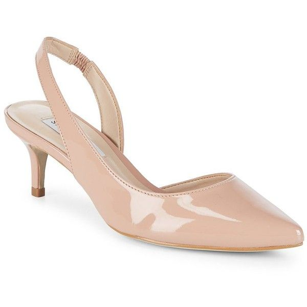 Steve Madden Women's Vera Patent Slingback Pump ($89) ❤ liked on Polyvore featuring shoes, pumps, dark blush, pointy toe slingbacks, slip-on shoes, patent pumps, polish shoes and slingback pumps