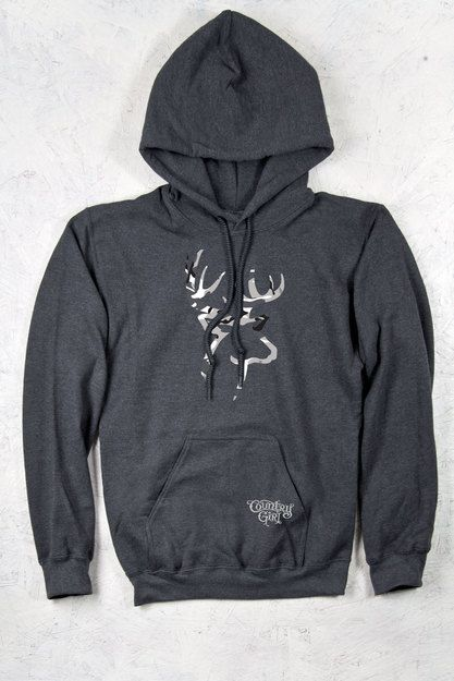 Country Girl® Grey Camo Deer Logo Relaxed Pullover Hoodie