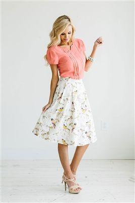 Pink Yellow Skirt  Modest Skirt, Spring Dresses, Church Dresses, dresses for…