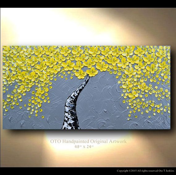 Made to Order Original Tree Painting Yellow Flower von tjenkinsarts