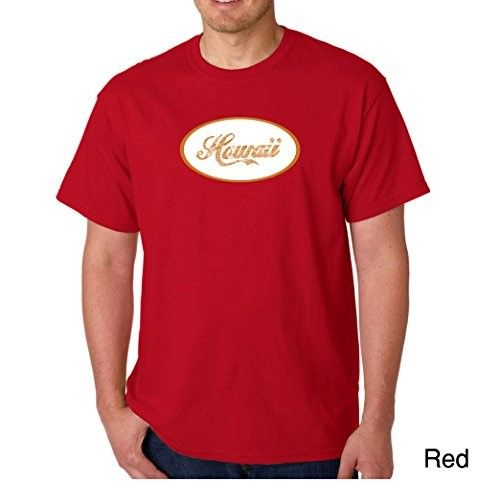 Men's Graphic Novelty T-shirt Tees 100% Cotton - Hawaiian Island Names & Imagery - Red - Large