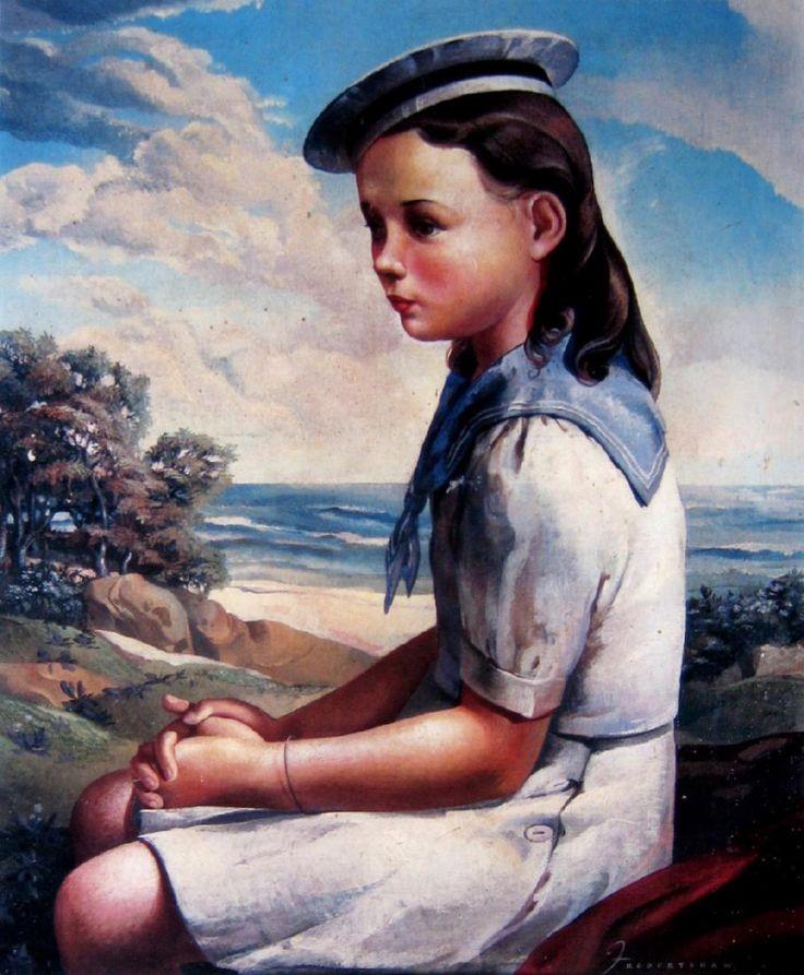 Freda Rhoda Robertshaw (Australian, 1916 – 1997) - Girl in a sailor suit