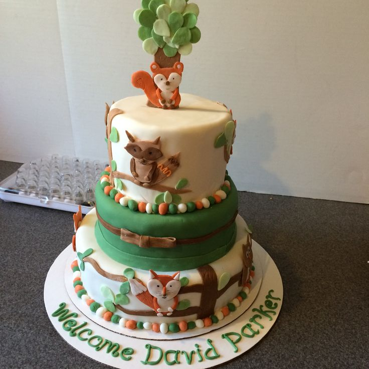 Baby Shower Cake With Foxes And Other Woodland Animals On