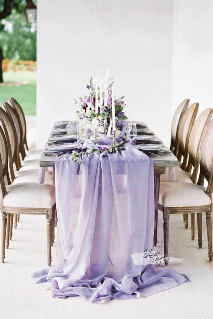 Silky Lavender Chiffon Table Runner