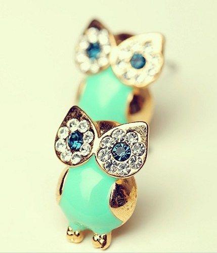 Unique Shiny Sparking Cute Owl Earrings | onfancy - Jewelry on ArtFire