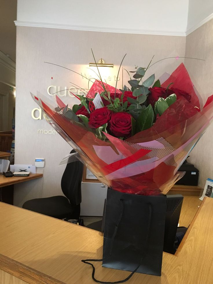 flowers at Queen's Drive Denta lPractice on Valentine's Day,Dental Surgery, Southside, Glasgow, implants, crowns, venneers, white fillings, clear braces, family dentist, cosmetic dentist, beautiful smiles, smile makeovers