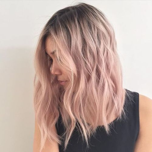 light pink and wavy hair