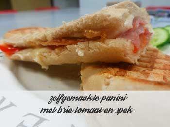 zelfgemaakte panini met brie tomaat en spek. Heerlijk bourgondisch genieten. De brie komt zo lekker uit de panini lopen. Heerlijk