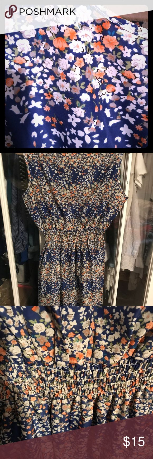 Perfect Floral Sundress Blue and White This sundress is one of two I purchased from a boutique somewhere. They are labeled as XXL, but fit more like a large. The fabric is thin, but not see through at all and the elastic waistband is loose and not tight. I wear a Jean jacket with both dresses and have worn both sandals and booties with them. So cute and comfortable. They also pack well in a suitcase! Pakula Dresses