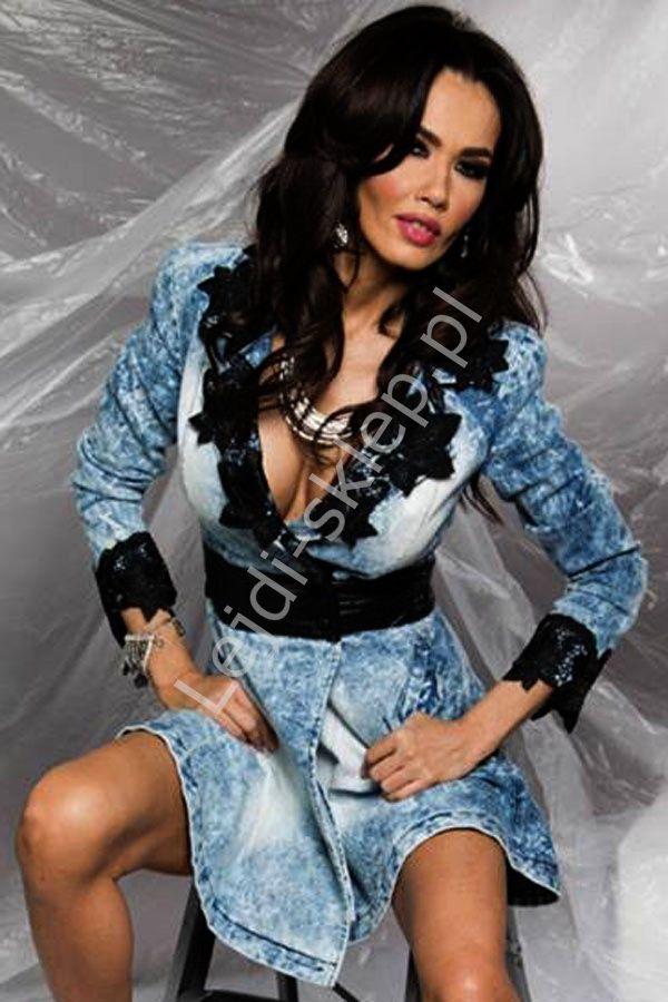 Jeansowa sukienka / tunika z gipiurową koronką