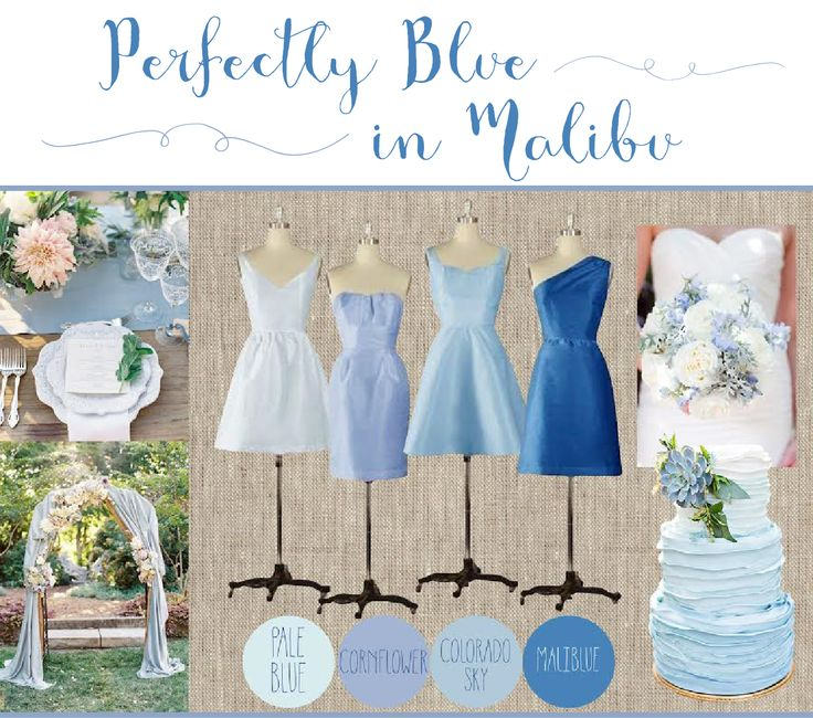 This Perfectly Blue in Malibu color palette features our Simple V Bodice with Stacey Skirt in Pale Blue Taffeta, Sweetheart Bodice with Lindsay Skirt in Cornflower Silk Dupioni, Curved V Bodice with Mia Skirt in Colorado Sky Taffeta and Miranda Bodice with Jamie Skirt in Malibu Silk Dupioni