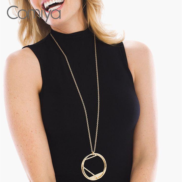 Comiya Handmade Cadenas De Plata Mujer Fashion Gold Color Zinc Alloy Hollow Out Circle Charm Pendant Necklace Wholesale Necklace #Affiliate