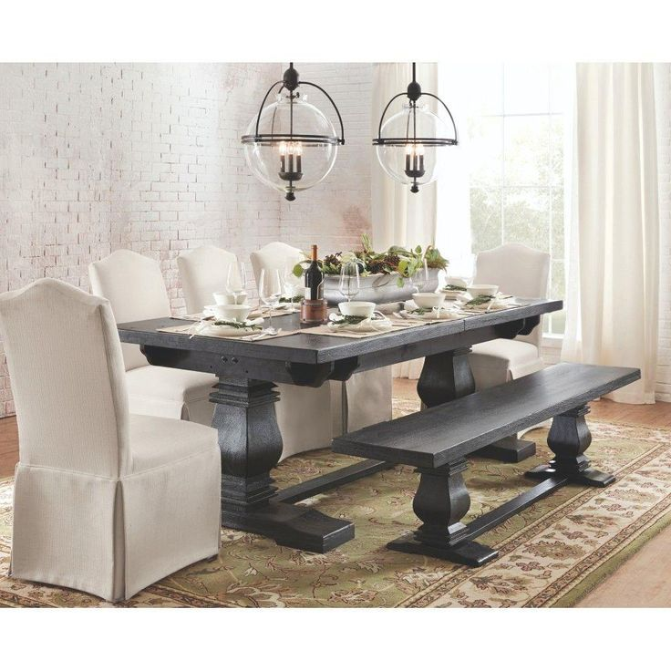 Home Decorators Collection Aldridge Washed Black Extendable Dining Table Wood BenchRustic