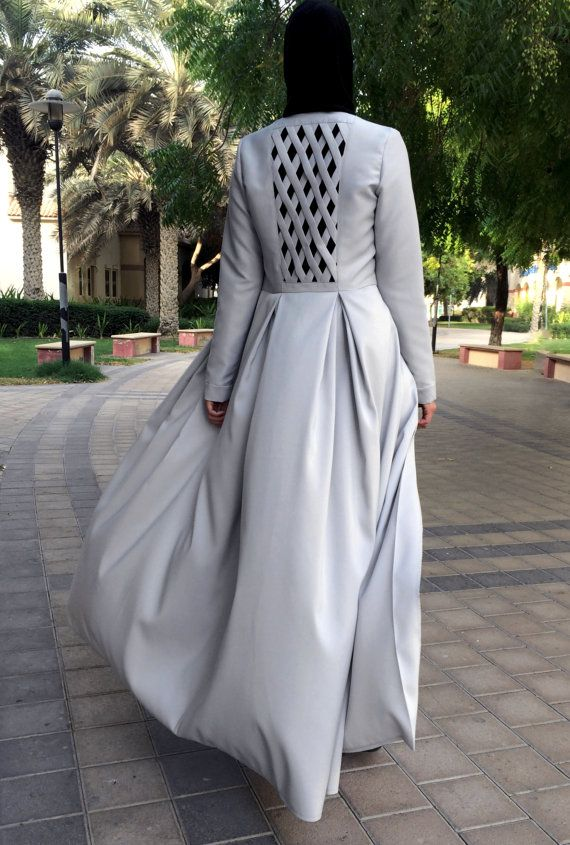Criss-Cross Abaya Gown Light Grey by LanaLik on Etsy