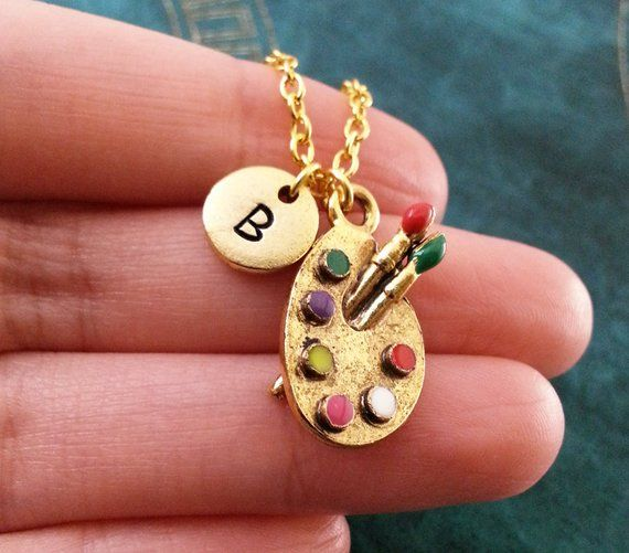 Painter Necklace Gift for Artist Art Teacher Gift I Love Art Necklace Hand Stamped Jewelry Artist Jewelry Personalized Artist Necklace
