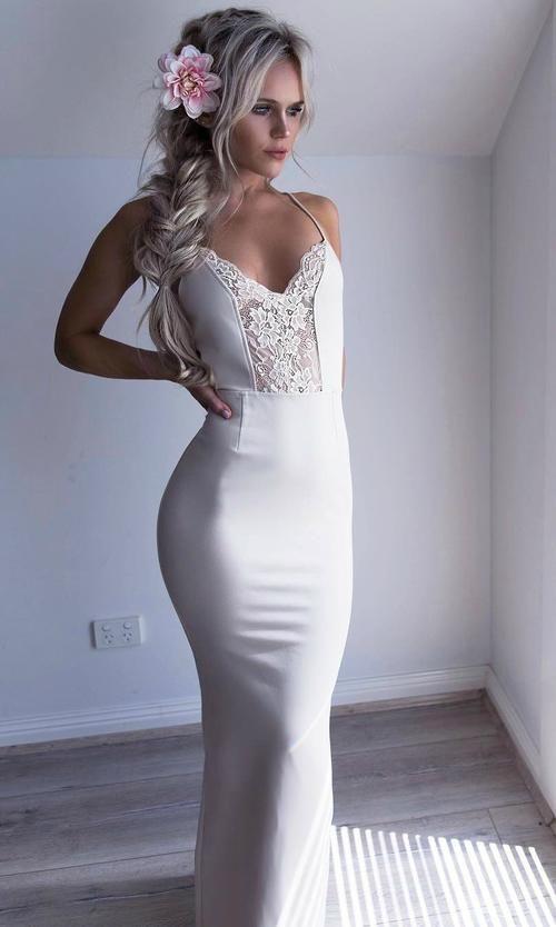 modest white mermaid prom dresses, unique spaghetti straps party dresses with lace, elegant v neck formal dresses