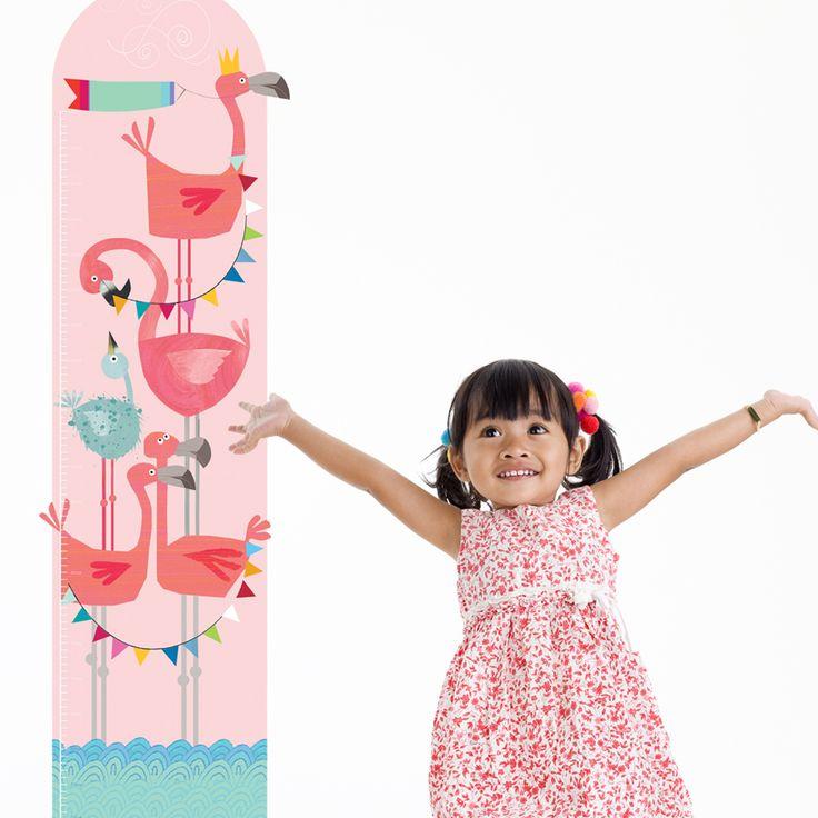 Personalised Flamingo Height Chart  Girls Bedroom Wall Height Chart