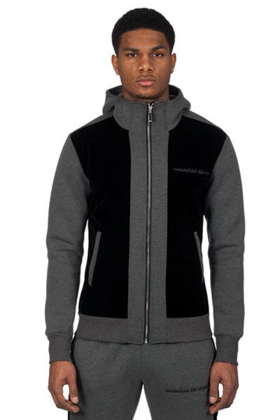 Grey Neoprene and Velvet Track Jacket - Maniere De Voir