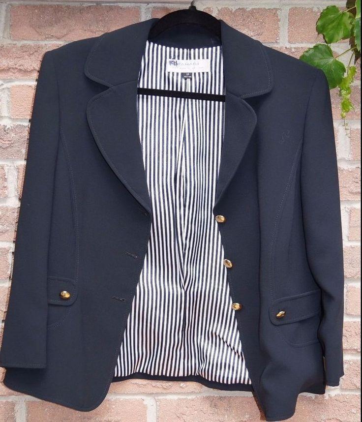TAHARI Dark navy blue single breasted blazer size 14 with 3/4 sleeves | eBay