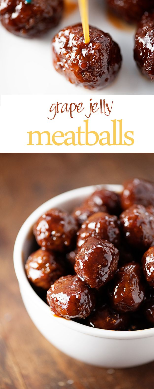 Grape Jelly Meatballs - just three ingredients and made in the slow cooker! Perfect appetizer for football or New Year's!
