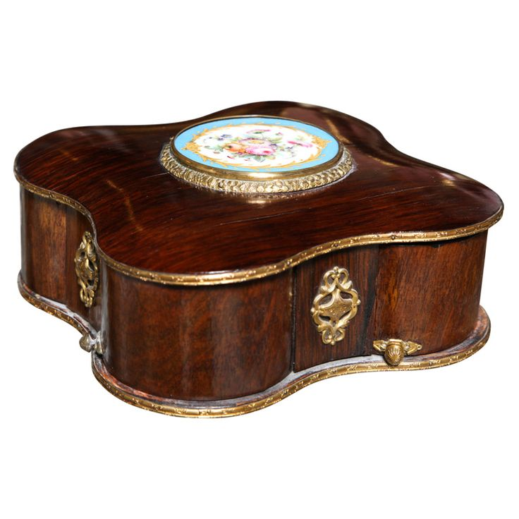 French Sevres Mechanical Jewelry Box | From a unique collection of antique and modern jewelry boxes at https://www.1stdibs.com/furniture/more-furniture-collectibles/jewelry-boxes/