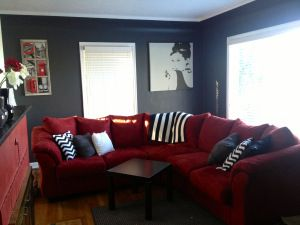 Grey Red And Black White Living Room Makeover