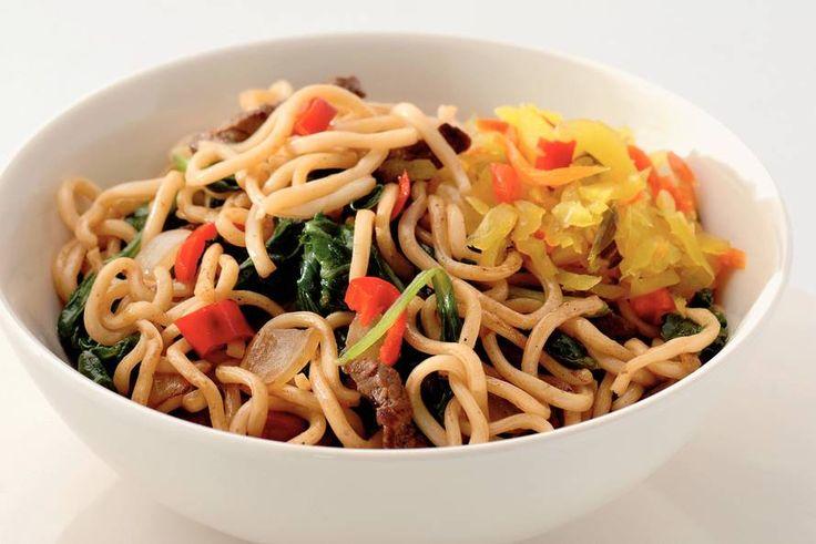 Gezond: Noedels met runderreepjes en spinazie - Recept - Allerhande