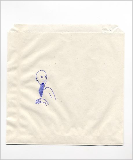 Rachel Goodyear - man eating squirrel  2004  biro on paper bag  15 x 15 cms  Private collection: Ideas Inspirations Image