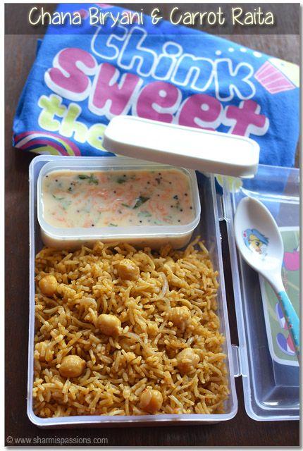 Kids Lunch Box Menu6 - Chana Biryani & Carrot Raita