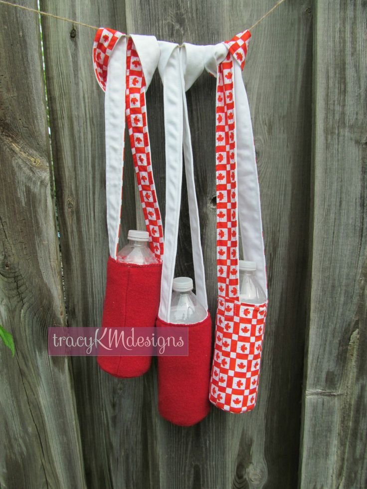 Red and white are a school's colours, and the Canadian fabric adds a touch of home to an out-of-country relative's custom holders.