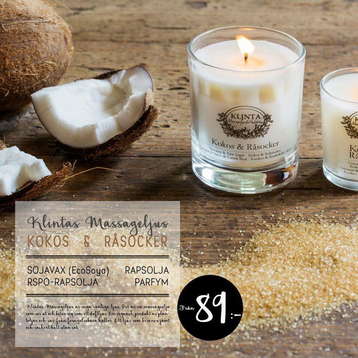 Karamelliserat brunt råsocker tillsammans med solmogna fikon, kokosnöt och en touch av bärnsten skapar en klassisk kokosnötsdoft. Kokos & Råsocker är lockande, mysig och varm!  I din närmaste Klinta-butik från 89:-!