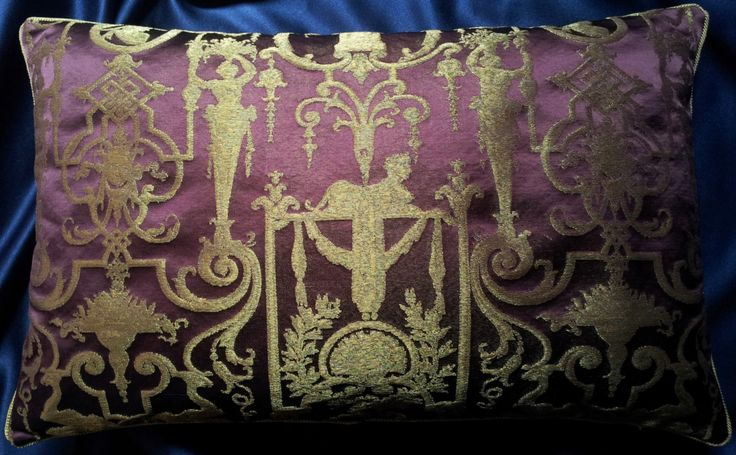 Lumbar Throw Pillow Cushion Cover Silk Brocade Rubelli Fabric Amethyst and Gold Aida Pattern - Made in Italy by OggettiVeneziani on Etsy