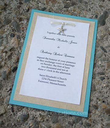 Simple Beach Theme Wedding or sweet 16Invitations