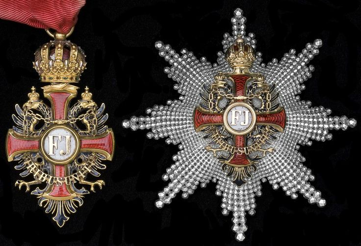 Franz Joseph Order, Commander with Star insignia; breast star, 2nd model, D. 80mm and neck badge, 68 x 37mm, Vinc Mayer's Sohne, Vienna.