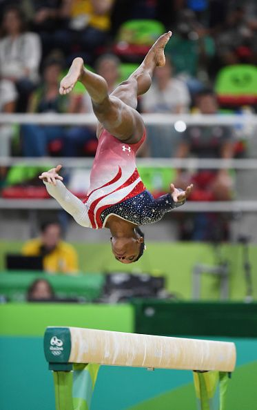 #RIO2016 US gymnast Simone Biles competes on the beam on Tuesday Aug 9 at the Rio Olympic Games in Rio De Janeiro Brazil The US women's squad captured the...