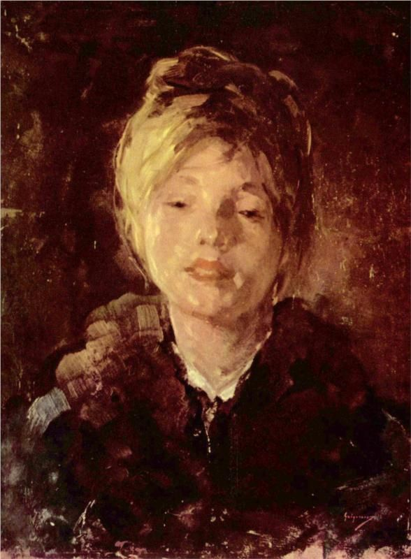 The Little Girl with Red Headscarf - Nicolae Grigorescu - WikiPaintings.org