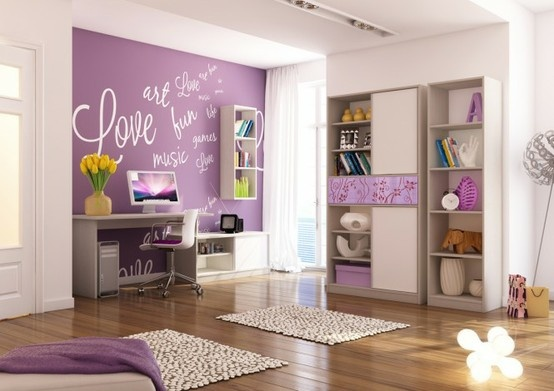 Cute idea for girls room using accent purple on niche wall. This can be done with blackboard paint so writing on the wall can change anytime.