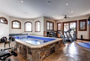 Craftsman Hot Tub with Ceiling fan, Concrete floors, Arched window