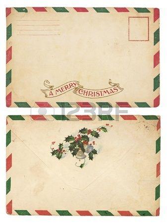 El anverso y reverso de un envejecimiento sobre la Navidad con la frontera de rayas rojas y verdes  Foto de archivo