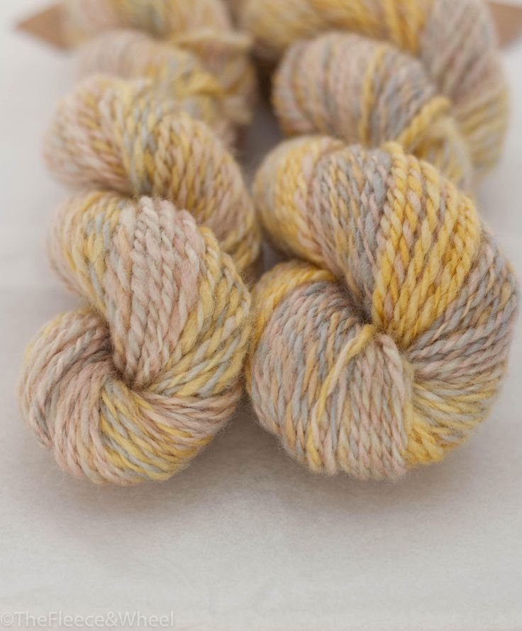 Handspun yarn from English Blue faced Leicester roving.