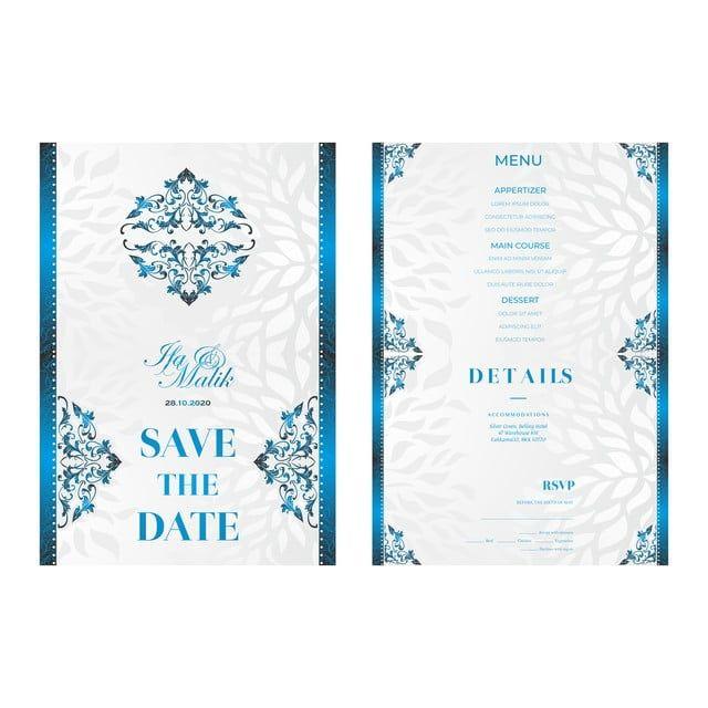 Templat Pernikahan Jemputan Perkahwinan Cerah Biru Wedding Templates Flower Designs Wedding Invitations