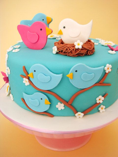 Nesting Birds Baby Shower Cake Recipe + Cookie Recipe..this would be cute for Easter in other Colors.