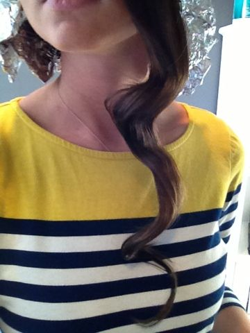 """cooking curls"" - curls that hold using tin foil & a hair straightener!"