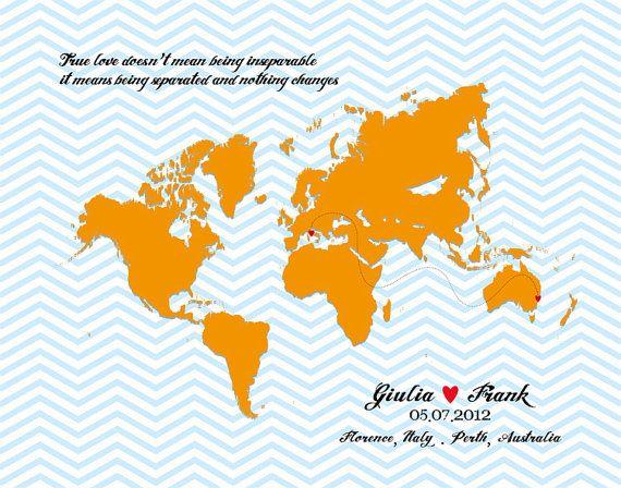 Mappa di relazioni a distanza amici amore da 8x10 in di luzdesign