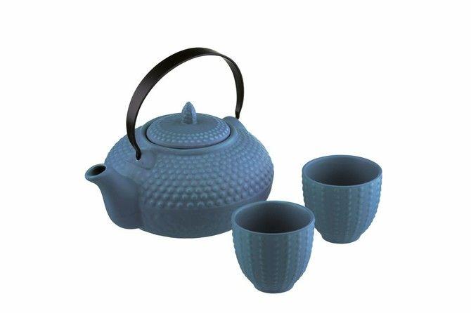 BIA Stoneware 24 Ounce Teapot Set - 3 Piece,Teal