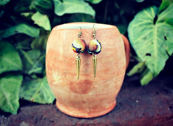 Textile Bead Earrings by KusiPeru on Etsy, $10.00