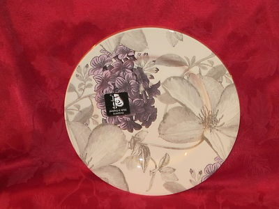 ANDREW TANNER /STAFFORD FLORAL CLEMATIS LAVENDER PURPLE DINNER PLATES SET OF 4 | eBay