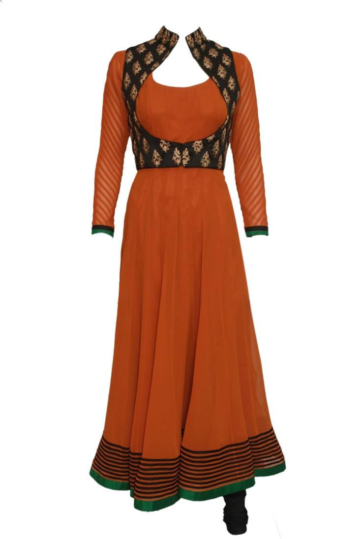 An orange anarkali with copper brocade on black koti